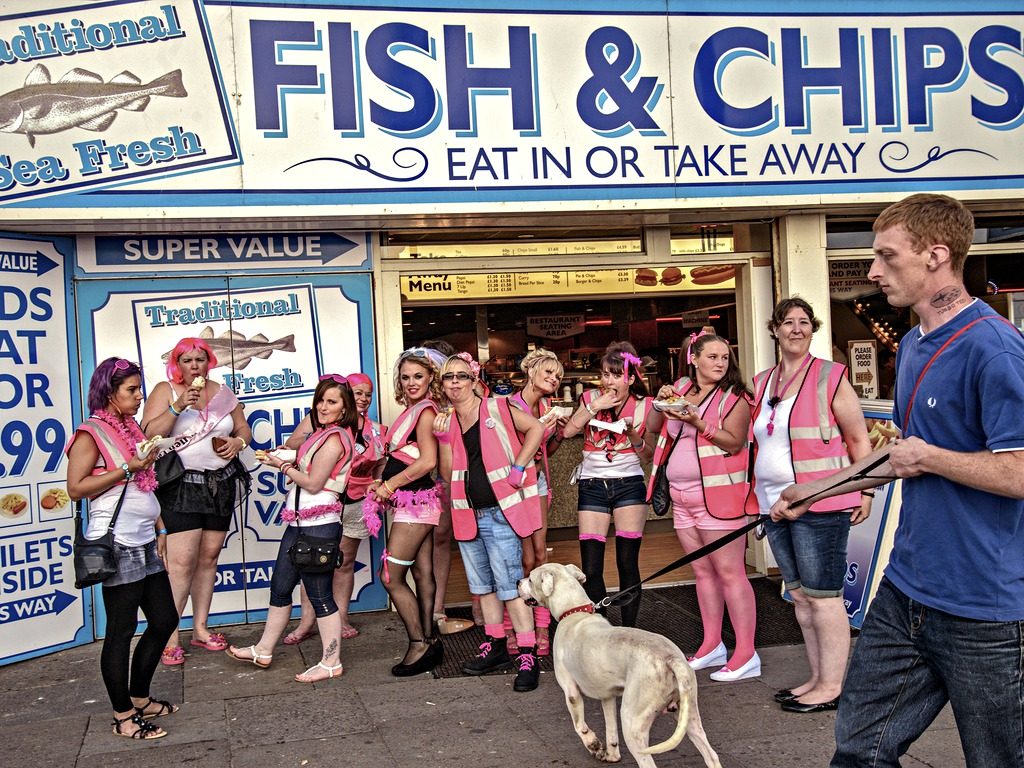 A hen party stops for fish and chips